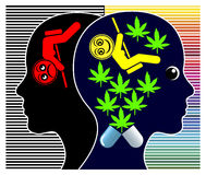 Medical Cannabis for Depressions. Women getting treatment for psychological disorder with marijuana Stock Images