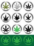Medical cannabis leaf silhouette  illustration Stock Images
