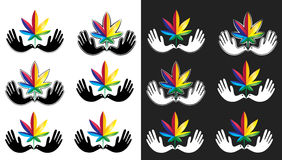 Medical cannabis marijuana leaf icon with peaceful dove symbol Stock Photography