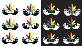 Medical cannabis marijuana leaf icon with peaceful dove symbol. Set of medical cannabis marijuana leaf icon with peaceful dove symbol royalty free illustration