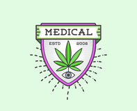 Medical Cannabis Marijuana Sign or Label Template in Vector. Can Royalty Free Stock Photo