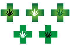 Medical cannabis pharmacy cross Stock Images