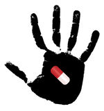 The medical capsule on a black print of a hand. Vector illustration Stock Image