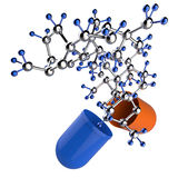 Medical capsule and molecule structure Stock Photography