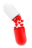 Medical capsule pill with hearts Royalty Free Stock Photos