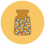 Medical capsules in a bottle. Vector illustration Royalty Free Stock Photo