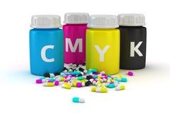 Medical capsules of CMYK colors. Four bottles with paint of cmyk colors and heap of colored capsules stock illustration