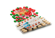 Medical capsules, pills, and syringes. Medical background Royalty Free Stock Photography