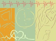 Medical cardio background. With woman, heart, medical symbol royalty free illustration