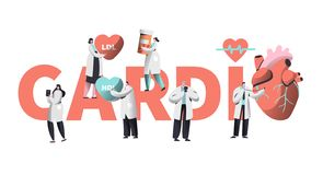 Medical Cardiology Worker Care Heart Health Typography Banner. Team Character for Poster Background. Pill for Treatment. Emergency Help First Aid or Healthcare royalty free illustration