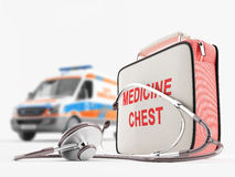 Medical care. First aid kit and stethoscope against ambulance Stock Photography