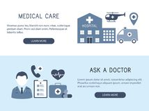 Medical care. Ask a doctor. Vector illustration. Medical care. Ask a doctor. Horizontal banners. Vector illustration Stock Photos