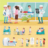 Medical Care Composition. With surgery female doctor abdominal ultrasound and MRI procedures nurse ophthalmologist consultation vector illustration stock illustration