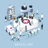 Medical care concept. Flat 3d isometric design of medical care concept Stock Photos