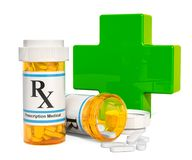 Medical care concept, green cross with drugs. 3D rendering. Isolated on white background Royalty Free Stock Photo