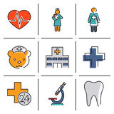 Medical care and health isolated line icons set Royalty Free Stock Photos