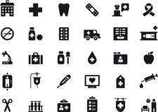 Medical care and hospital icon set. Black and white set of glyph flat icons relating to medical care and hospitals Stock Images