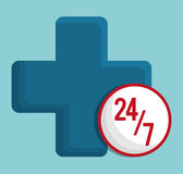 Medical care icon image. Cross 24 7 medical care icon image  illustration design Stock Images