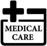 Medical care icon. Isolated black medical care icon - first aid kit sign Stock Photo