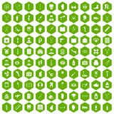100 medical care icons hexagon green Stock Photos