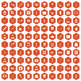 100 medical care icons hexagon orange Stock Photos