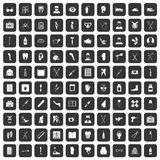 100 medical care icons set black. 100 medical care icons set in black color isolated vector illustration Royalty Free Stock Photo