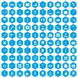 100 medical care icons set blue. 100 medical care icons set in blue hexagon isolated vector illustration royalty free illustration