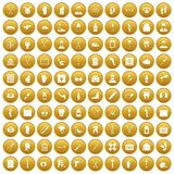 100 medical care icons set gold. 100 medical care icons set in gold circle isolated on white vector illustration Stock Photography