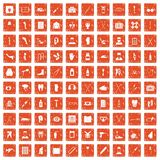 100 medical care icons set grunge orange. 100 medical care icons set in grunge style orange color isolated on white background vector illustration Stock Photo