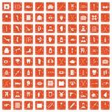 100 medical care icons set grunge orange. 100 medical care icons set in grunge style orange color isolated on white background vector illustration stock illustration