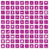 100 medical care icons set grunge pink. 100 medical care icons set in grunge style pink color isolated on white background vector illustration Royalty Free Stock Images