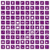 100 medical care icons set grunge purple Royalty Free Stock Photos