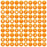 100 medical care icons set orange. 100 medical care icons set in orange circle isolated on white vector illustration Stock Photography