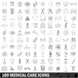 100 medical care icons set, outline style. 100 medical care icons set in outline style for any design vector illustration royalty free illustration