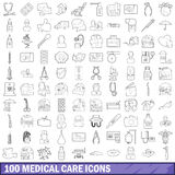 100 medical care icons set, outline style. 100 medical care icons set in outline style for any design vector illustration Stock Photos