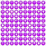 100 medical care icons set purple. 100 medical care icons set in purple circle isolated on white vector illustration Royalty Free Stock Image