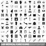100 medical care icons set, simple style. 100 medical care icons set in simple style for any design vector illustration stock illustration