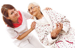 Medical care for an old woman Stock Photo