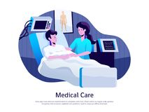 Medical Care Poster. With doctor attending patient in intensive care unit with life support equipment vector illustration Stock Images