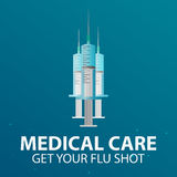 Medical care. Syringe for injection vaccine . Vector flat illustration. Royalty Free Stock Photography