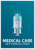 Medical care. Syringe for injection vaccine . Vector flat illustration. Stock Photography