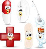 Medical Cartoon Objects. Some Funny Medical Elements Cartoon Royalty Free Stock Photo