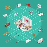 Medical Case with Equipment Concept First Aid Isometric View. Vector Royalty Free Stock Photography