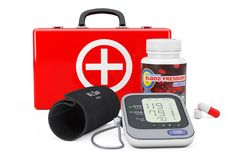 Medical Case, Plastic Bottle with Blood Pressure Support Pills a. Nd Digital Blood Pressure Monitor with Cuff on a white background. 3d Rendering Royalty Free Stock Images
