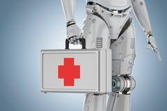 Medical case in robot hand. 3d rendering medical case in robot hand on blue background vector illustration