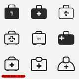Medical case sign icons set. First aid or medical kit icon - light version Stock Images