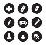 Medical center black icons set. Hospital website interface items. Clinic laboratory and pharmacy. Beaker and syringe circle symbols. Ambulance and first aid Stock Photos