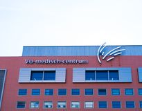 Medical center building in amsterdam stock photo