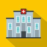 Medical center building icon, flat style Stock Photos