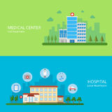 Medical center full treatment hospital local healt. Hcare web site banner hero image set. Building exterior and health care service icons. Flat style modern Stock Image